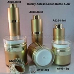 Gold Round Rotary Airless Press Lotion Bottle & Jar