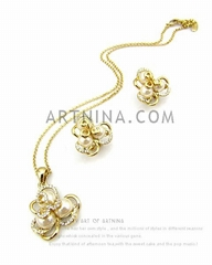 gold plated 2 pieces white and blue flower sweet lolita style jewelry sets