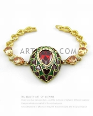 gold quality plated heart siam zircon royal style fashion bracelets