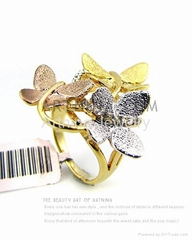 multi colored three butterflies shape lolita style fashion rings