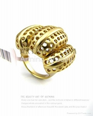14k gold plated golden yellow flower hollow out design fashion rings