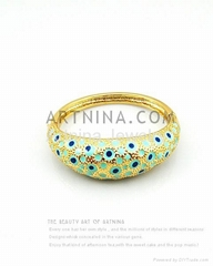 2012 fashion jewelry gold plated pastoral style blue bangle