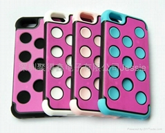 IPHONE 5 three in One three-color set Sillice Gel TPU  PC