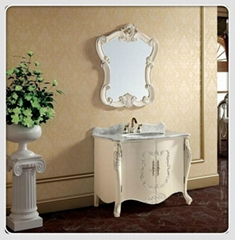 Antique Class Archaize Wooden Bathroom Cabinet Vanity Set Marble Top