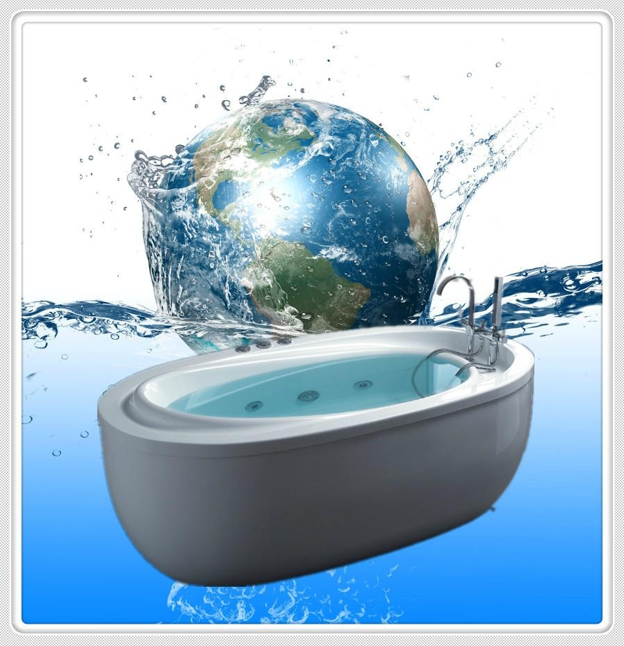 Oval Shape Common Acrylic Bathtub With High Gloss