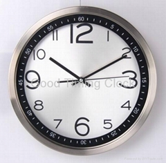 "Stainless Steel Wall Clock with 12"" Diameter"