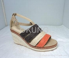 Low cost high heel cancas platform sandal for lady