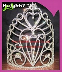 Heart Shaped Rhinestone Pageant Crown