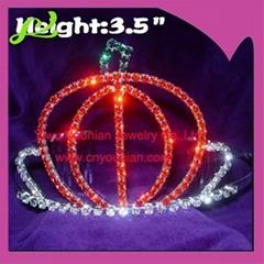 pumpkin rhinestone halloween crown