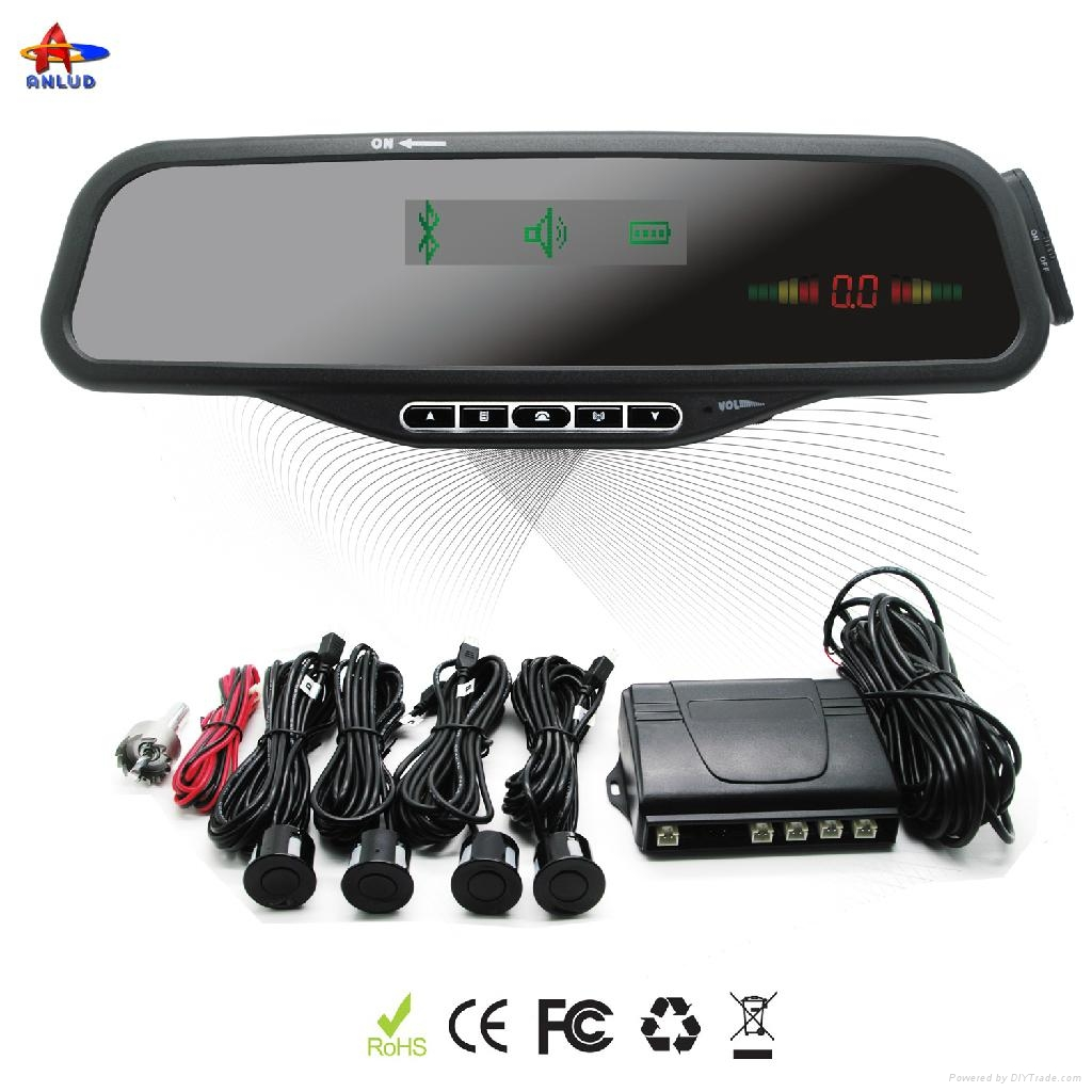 ALD08B--Bluetooth Handsfree Car Mirror with MP3 Player and 4 LED parking sensors 1