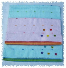 缎绣蝴蝶毛巾