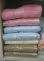 新款素色緞檔毛巾