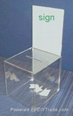 acrylic donation box with flyer