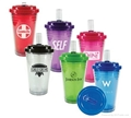 New plastic tumbler with flip-up straw