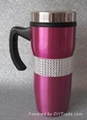 inner plastic,outer s/s travel mug with