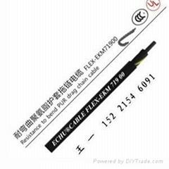 耐弯曲聚氨酯单护套拖链电缆