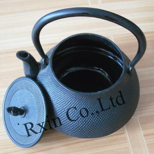 Black hobnail cast iron teapot 3