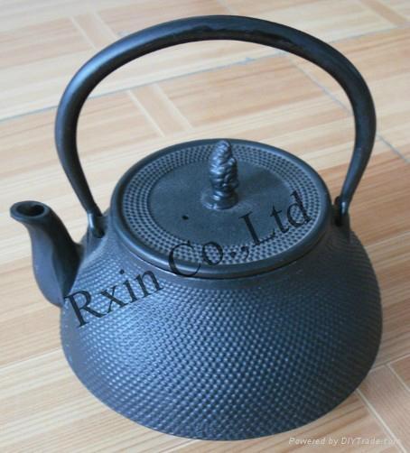 Black hobnail cast iron teapot 5