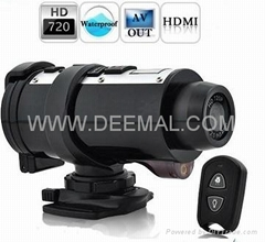 720P Waterproof HD Action camcorder with remote controller and laser light