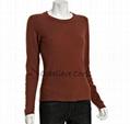 coral cashmere sleeve crewneck sweater
