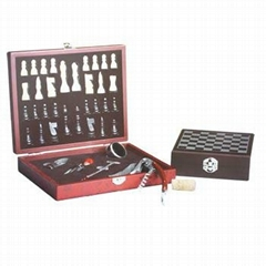 Wooden wine Accessories gift sets with chess