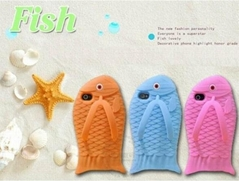 Newest Cartoon 3D Lovely Fish slipper Silicon Case For iPhone 4 4S