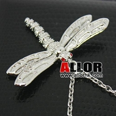 Stainless steel dragonfly necklace with red crystal setting