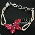 stainless steel butterfly charm adjustable bracelet 2