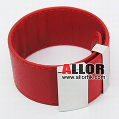 2012 Red genuine leather bracelet with stainless steel buckle