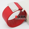 2012 Red genuine leather bracelet with stainless steel buckle 2