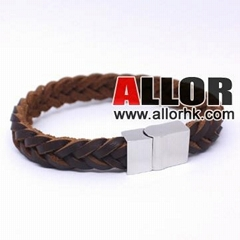 Brown genuine leather bracelet with stainless steel buckle