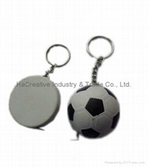 Football shape Tape measure with key ring