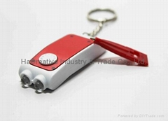 double dual light keychain with pen flashlight with 2 bulbs