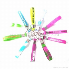 Bands bracelets silicone rubber wristband with keyring