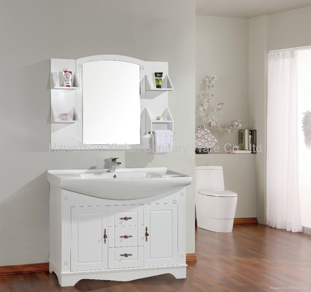 Big size white free standing pvc bathroom vanity hp06 yiqian oem china manufacturer for White bathroom cabinets free standing