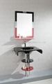 attractive simple design free standing mirror tempered glass basin