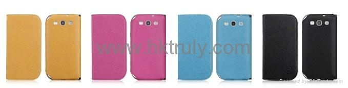 2012 New desing PU leather case cover for Samsung i9300 i9308 1