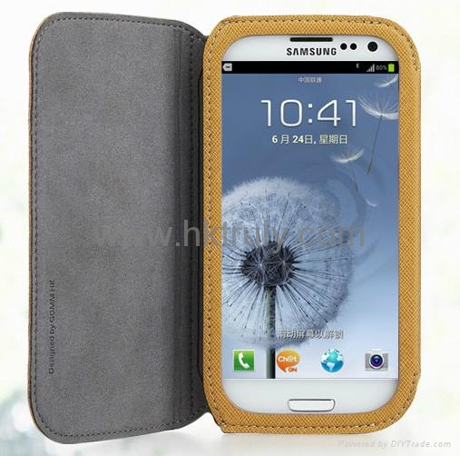 2012 New desing PU leather case cover for Samsung i9300 i9308 2