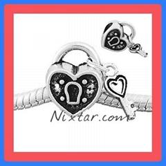 Heart Lock With Key Shape European Bead