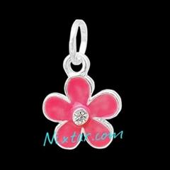 Pink Flower Shape Silver Plated Enamel