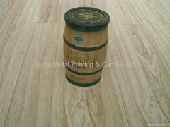 Round coffee/chocolate tin box with snap lid