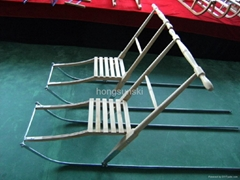 Good quality Double kick sled/Foldable snow sledge/Wood kick sled