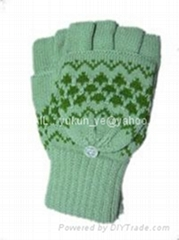针织半指加盖毛线时款手套