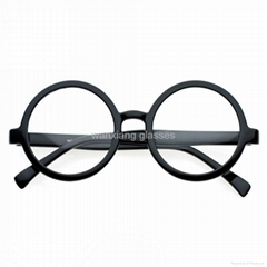 Black Round Frame Kids Acetate Eyeglasses