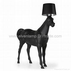 black HORSE floor lamp white lantern