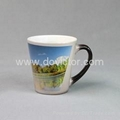 Small conical black color changing mug