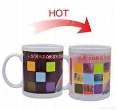 11oz FDA approved partial color changing ceramic mug