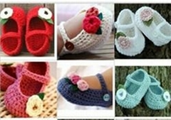 Crochet baby flower shoes kids cute infant shoes Mary Jane cotton yarn 0-12M siz