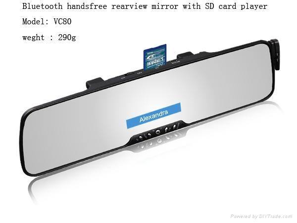 Top quality Bluetooth mirror car kit + FM+SD+wireless earphone+phonebook+display 1