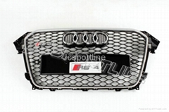 2013 RS4 Grill for Audi A4 Black Mesh Silver Painting Edge